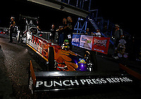 Sep 27, 2013; Madison, IL, USA; NHRA top fuel dragster driver Luigi Novelli during qualifying for the Midwest Nationals at Gateway Motorsports Park. Mandatory Credit: Mark J. Rebilas-