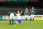 28.08.2019, Stadion Lohmühle, Luebeck, GER,  VFB Lübeck/Luebeck vs VfL Wolfsburg IIi<br /> <br /> DFB REGULATIONS PROHIBIT ANY USE OF PHOTOGRAPHS AS IMAGE SEQUENCES AND/OR QUASI-VIDEO.<br /> <br /> im Bild / picture shows<br /> Schlusspfiff, Wolfsburg mit Dominik Marx VfL Wolfsburg II jubelt, die Luebecker sind enttäuscht/enttaeuscht<br /> <br /> Foto © nordphoto / Tauchnitz