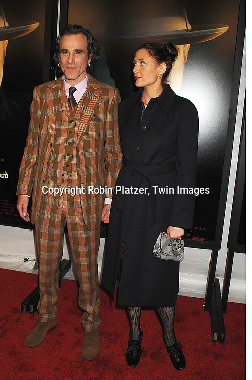 "Daniel Day-Lewis and wife Rebecca Miller.arriving at the New York Premiere of ""There Will Be Blood"".on December 10, 2007 at The Ziegfeld Theatre in New York. Paul Thomas Anderson directed the movie which .stars Daniel Day-Lewis. .Robin Platzer, Twin Images"