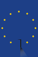 European Union flag with dark open door and missing star
