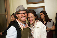 New York, NY - November 13, 2014: Chef Seamus Mullen, left, with a friend at a Preview event for El Colmado Butchery, his Spanish-style charcuterie and wine bar in the Meatpacking District. <br /> <br /> CREDIT: Clay Williams for Bon Appetit.<br /> <br /> &copy; Clay Williams / claywilliamsphoto.com