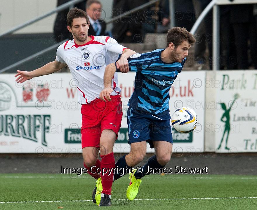 Forfar's James Dale holds off Stranraer's Stephen Stirling.
