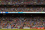 23 May 2013:  Sign board and crowd.  Chelsea F.C. was defeated by Manchester City 3-4 at Busch Stadium in Saint Louis, Missouri, in a friendly exhibition soccer match.