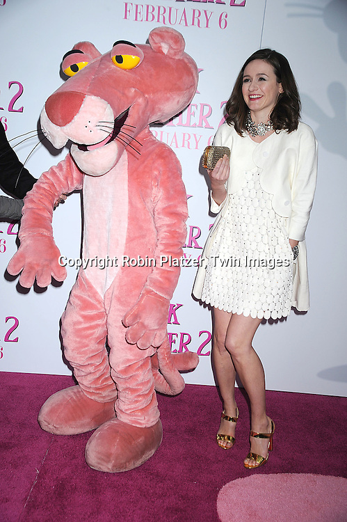 "actress Emily Mortimer in Chloe dress with The Pink Pinther..posing for photographers at The World Premiere of ""The Pink Panther 2 staring Steve Martin, Jean Reno, Emily Mortimer, Andy Garcia and Aishwarya Rai Bachchan on ..February 3, 2009 at The Ziegfeld Theatre in New York City. ....Robin Platzer, Twin Images"