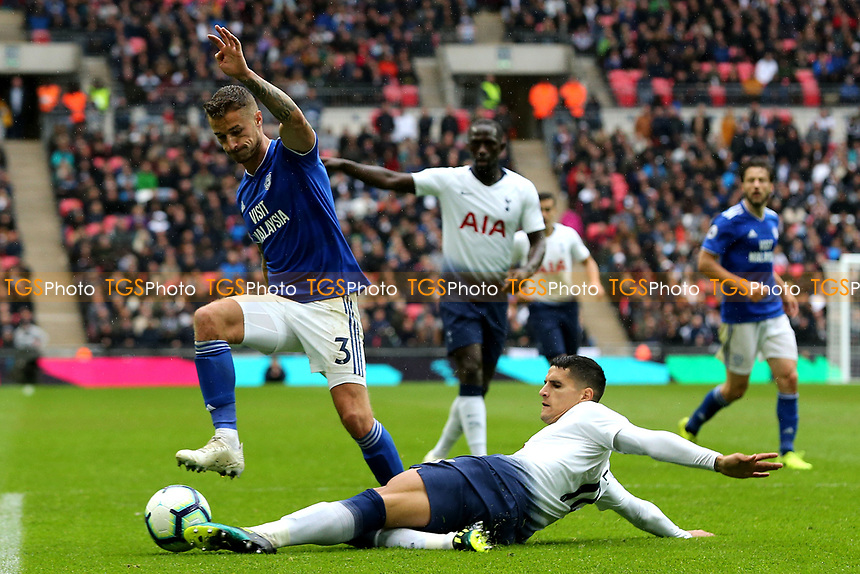 Joe Bennett of Cardiff City and Erik Lamela of Tottenham Hotspur during Tottenham Hotspur vs Cardiff City, Premier League Football at Wembley Stadium on 6th October 2018
