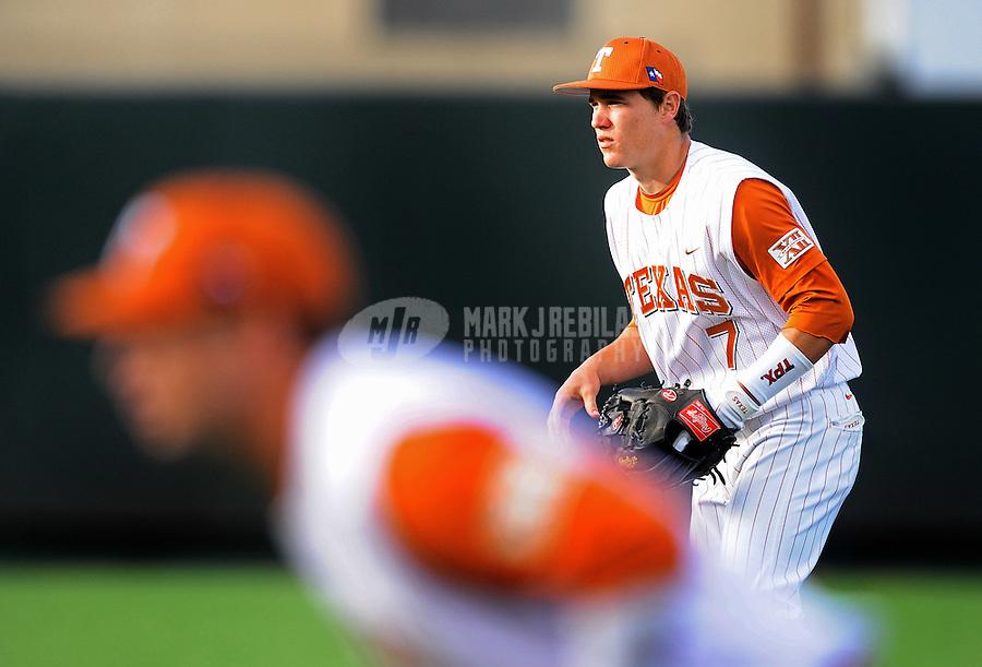 Mar. 23, 2010; Austin, TX, USA; Texas Longhorns second baseman (7) Jordan Etier against the Rice Owls at UFCU Disch-Falk Field. Mandatory Credit: Mark J. Rebilas-