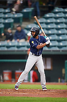 New Hampshire Fisher Cats Richard Urena (4) at bat during a game against the Altoona Curve on May 11, 2017 at Peoples Natural Gas Field in Altoona, Pennsylvania.  Altoona defeated New Hampshire 4-3.  (Mike Janes/Four Seam Images)