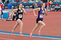 Eureka High School's (MO) Hannah Long and Linn-Mar's (IA)  Stephanie Jenks run early in the 1600-meters on their way to personal bests and the 1st and 3rd fastest times in the country at the 2015 Kansas Relays. Jenks won in 4:40.78 while Long finished in 4:43.67 on Friday, April 17, in Lawrence, Ks.