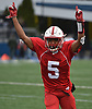 Jordan Jackson #5 of Freeport reacts after making an interception on the final play of the game to seal a 20-19 win over Floyd in the Class I Long Island Championship at Shuart Stadium in Hempstead on Saturday, Nov. 24, 2018.