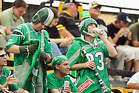 July 12, 2008; Hamilton, ON, CAN; Saskatchewan Roughriders supporters attend the CFL football game between the Hamilton Tiger-Cats and Saskatchewan Roughriders at Ivor Wynne Stadium. The Roughriders defeated the Tiger-Cats 33-28. Mandatory Credit: Ron Scheffler.