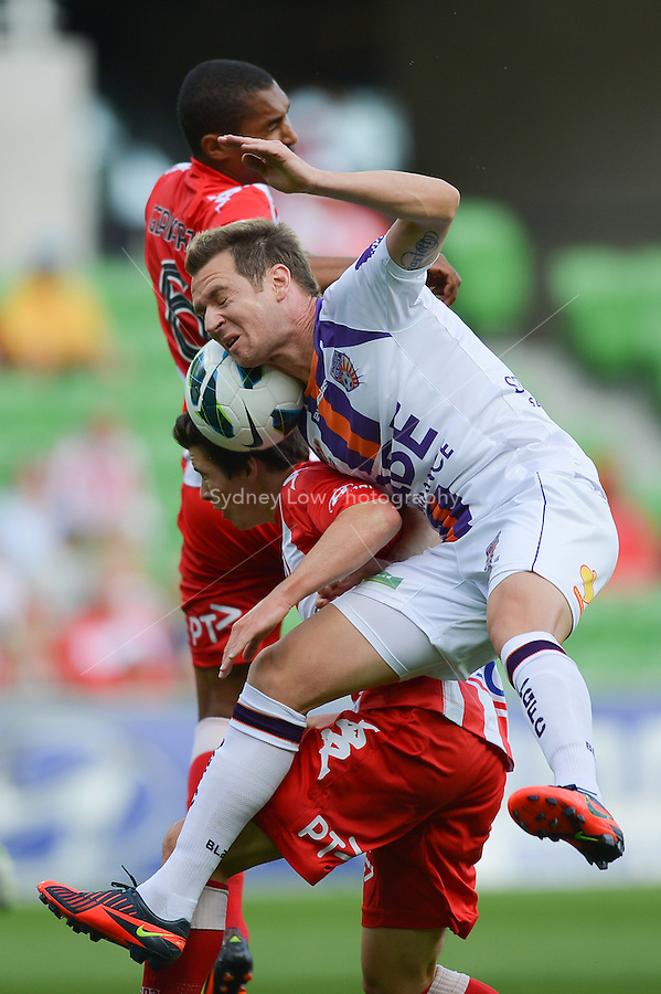 MELBOURNE - 8 DEC: Shane SMELTZ of the Glory jumps for the ball in the round ten A-League match between the Melbourne Heart and Perth Glory at AAMI Park on 8 December 2012. (Photo Sydney Low/syd-low.com/Melbourne Heart)