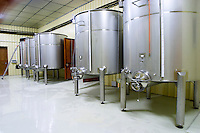 Domaine d'Antugnac. Limoux. Languedoc. Stainless steel fermentation and storage tanks. Floating top vats. France. Europe.