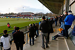 Darlington fans watching from the Tin Shed End. Darlington 1883 v Southport, National League North, 16th February 2019. The reborn Darlington 1883 share a ground with the town's Rugby Union club. <br />