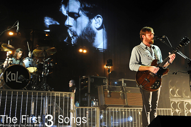 Caleb Followill of Kings of Leon performs at the Blossom Music Center in Cleveland, Ohio on July 26, 2010.