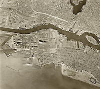 historical aerial photograph Oakland, California, 1958