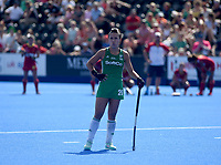 Ireland's Anna O'Flanagan watches the screen<br /> <br /> Photographer Hannah Fountain/CameraSport<br /> <br /> Vitality Hockey Women's World Cup - Ireland v Spain - Saturday 4th August 2018 - Lee Valley Hockey and Tennis Centre - Stratford<br /> <br /> World Copyright &copy; 2018 CameraSport. All rights reserved. 43 Linden Ave. Countesthorpe. Leicester. England. LE8 5PG - Tel: +44 (0) 116 277 4147 - admin@camerasport.com - www.camerasport.com