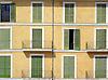 Facade with many green wood slatted shutters<br /> <br /> Fachada con muchas persianas verdes<br /> <br /> Fassade mit vielen gr&uuml;nen Fensterl&auml;den<br /> <br /> 2312 x 1703 px