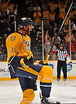 NASHVILLE, TN - OCTOBER 12:  Defenceman rookie Seth Jones #3 of the Nashville Predators reacts after scoring his first career NHL goal against the New York Islanders at Bridgestone Arena on October 12, 2013 in Nashville, Tennessee.  (Photo by Frederick Breedon/Getty Images)