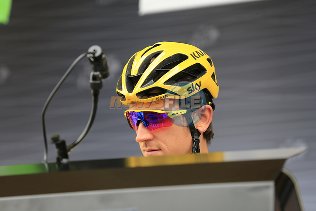 Race leader Yellow Jersey Geraint Thomas (WAL) Team Sky at sign on in Dusseldorf before the start of Stage 2 of the 104th edition of the Tour de France 2017, running 203.5km from Dusseldorf, Germany to Liege, Belgium. 2nd July 2017.<br /> Picture: Eoin Clarke | Cyclefile<br /> <br /> <br /> All photos usage must carry mandatory copyright credit (&copy; Cyclefile | Eoin Clarke)