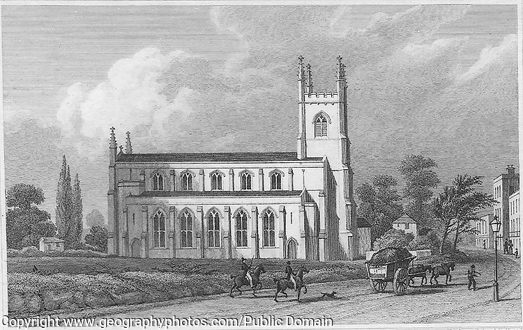St Paul's church, Balls Pond, engraving from 'Metropolitan Improvements, or London in the Nineteenth Century' London, England, UK 1828 , drawn by Thomas H Shepherd