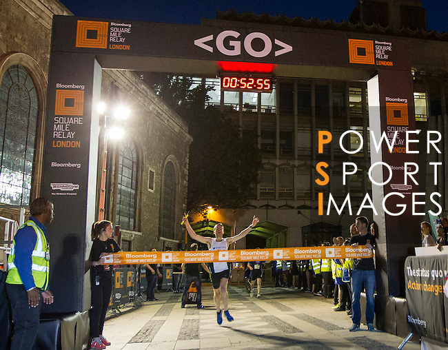 The winner finishes the race at Bloomberg Square Mile Relay in London, United Kingdom. Photo by Ian Roman / Power Sport Images