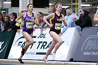 WINSTON-SALEM, NC - FEBRUARY 08: Sarah Edwards #9 of Virginia Tech leads Gabrielle Jennings #8 of Furman University in the Women's Camel City Elite Mile at JDL Fast Track on February 08, 2020 in Winston-Salem, North Carolina.