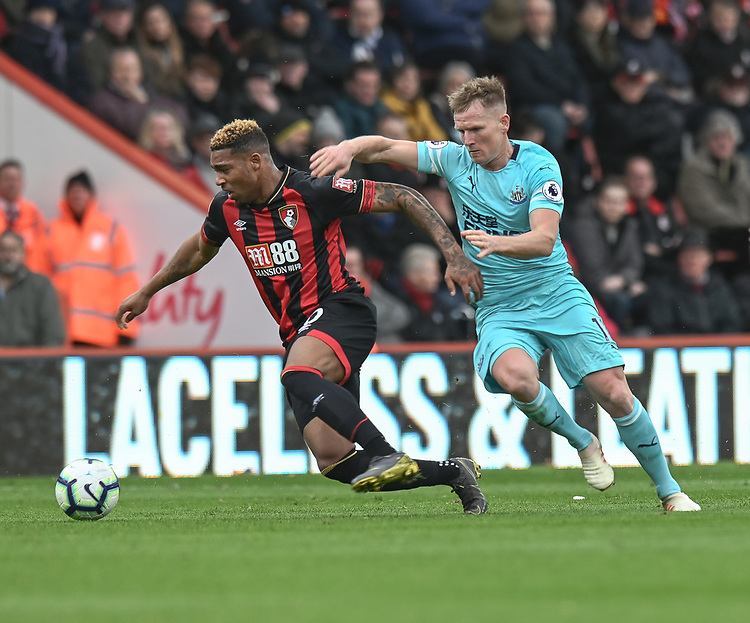 Newcastle United's Matt Ritchie (right) battles with Bournemouth's Jordon Ibe (left) <br /> <br /> Photographer David Horton/CameraSport<br /> <br /> The Premier League - Bournemouth v Newcastle United - Saturday 16th March 2019 - Vitality Stadium - Bournemouth<br /> <br /> World Copyright © 2019 CameraSport. All rights reserved. 43 Linden Ave. Countesthorpe. Leicester. England. LE8 5PG - Tel: +44 (0) 116 277 4147 - admin@camerasport.com - www.camerasport.com