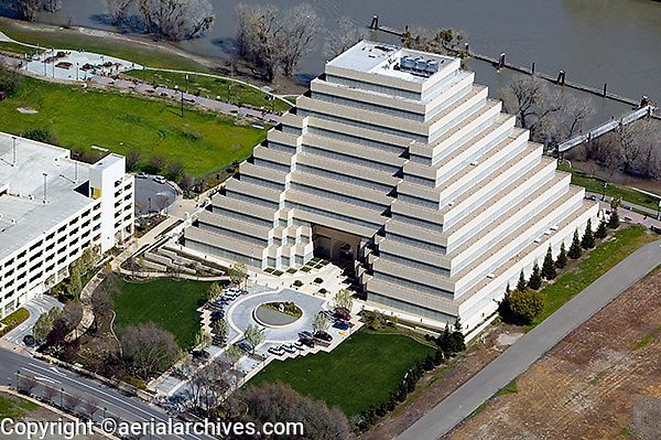 aerial photograph Ziggurat Building, Sacramento, California