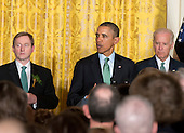 United States President Barack Obama hosts a St. Patrick's Day reception attended by Prime Minister Enda Kenny of Ireland in the East Room of the White House in Washington, D.C. on Friday, March 14, 2014. From left to right: Prime Minister Enda Kenny of Ireland, President Obama, and U.S. Vice President Joe Biden.<br /> Credit: Ron Sachs / Pool via CNP