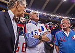 2 April 2016: Former Montreal Expos pitcher Steve Rogers (center) watches batting practice prior to a pre-season exhibition game between the Toronto Blue Jays and the Boston Red Sox at Olympic Stadium in Montreal, Quebec, Canada. The Red Sox defeated the Blue Jays 7-4 in the second of two MLB weekend games, which saw a two-game series attendance of 106,102 at the former home on the Montreal Expos. Mandatory Credit: Ed Wolfstein Photo *** RAW (NEF) Image File Available ***