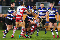 Aled Brew of Bath Rugby takes on the Gloucester Rugby defence. Anglo-Welsh Cup match, between Bath Rugby and Gloucester Rugby on January 27, 2017 at the Recreation Ground in Bath, England. Photo by: Patrick Khachfe / Onside Images