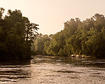 May 5, 2018. Riegelwood, North Carolina.<br /> <br /> The Cape Fear River, 50 miles downstream from the Chemours plant, where the city of Wilmington water intake pipes are located. <br /> <br /> The Chemours Company, a spin off from DuPont, manufactures many chemicals at its plant in Fayetteville, NC. One of these, commonly referred to as GenX, is part of the process of teflon manufacturing. Chemours has been accused of dumping large quantities of GenX into the Cape Fear River and polluting the water supply of city's down river and allowing GenX to leak into local aquifers.