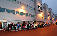 Pictured: Queues outside the Liberty stadium for the signing of copies of the new Swansea City FC calendar, Swansea south Wales. Thursday 02 december 2011<br />