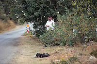 Pictured: Daily Mirror reporter Andy Lines at the second site in Kos, Greece. Thursday 13 October 2016<br />