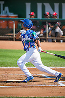 Kelvin Ramos (8) of the Ogden Raptors at bat against the Billings Mustangs in Pioneer League action at Lindquist Field on August 16, 2015 in Ogden, Utah. Billings defeated Ogden 6-3.  (Stephen Smith/Four Seam Images)