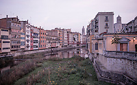 The landmark houses of Girona/Spain before sunrise