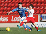 St Johnstone v Stranraer...01.11.15   Little Big Shot Youth Cup 3rd Round, McDiarmid Park, Perth<br /> Eoghan McCawl fends off Euan Maley<br /> Picture by Graeme Hart.<br /> Copyright Perthshire Picture Agency<br /> Tel: 01738 623350  Mobile: 07990 594431