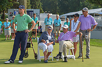 Justin Thomas (USA), his grandparents, and his parents listen to post-tournament speeches following 4th round of the World Golf Championships - Bridgestone Invitational, at the Firestone Country Club, Akron, Ohio. 8/5/2018.<br /> Picture: Golffile | Ken Murray<br /> <br /> <br /> All photo usage must carry mandatory copyright credit (© Golffile | Ken Murray)