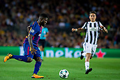 12th September 2017, Camp Nou, Barcelona, Spain; UEFA Champions League Group stage, FC Barcelona versus Juventus; Samuel Umtiti of FC Barcelona defends the ball against  Paulo Dybala of Juventus