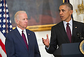 United States President Barack Obama, joined by US Vice President Joe Biden, delivers remarks at the Easter Prayer Breakfast at the White House in Washington, D.C. on March 30, 2016. <br /> Credit: Kevin Dietsch / Pool via CNP