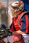 25 February 2007: Washington Nationals catcher Brian Schneider sits ready in the batting cage during batting practice at their spring training facility in Viera, Florida.<br /> <br /> Mandatory Photo Credit: Ed Wolfstein Photo