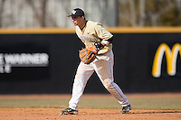 Second baseman Bentley Heyman #8 of the Wake Forest Demon Deacons on defense versus the Xavier Musketeers at Wake Forest Baseball Park March 7, 2010, in Winston-Salem, North Carolina.  Photo by Brian Westerholt / Four Seam Images