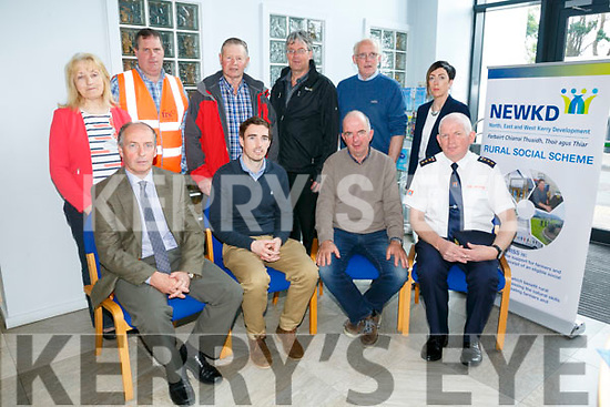 NEWKD   launch of Safe Tractor Driving Skills Training for 14-16  teenagers at Locations around kerry. Pictured front l-r Michael Kerins, FBD, Conor Murphy,  Agri Diagnostics Ireland Ltd John Dalton, Chairman, Family Farm Committee NEWKD, Tom Brosnan, Civil Defence back l-r Mary Fleming, Family Farm Committee, Martin Brosnan, First aid Trainer, Pat Herlihy, Gortatlea Mart, Edward Breen, Lee Strand, sponsor,    John O'Sullivan, Family Farm Committee Ger Brosnan, Development Officer NEWKD
