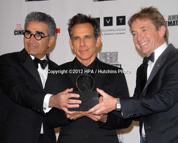 LOS ANGELES - NOV 15:  Eugene Levy, Ben Stiller, Martin Short in the press room of the 26th American Cinematheque Award Honoring Ben Stiller at Beverly Hilton Hotel on November 15, 2012 in Beverly Hills, CA