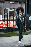 Julia Sarr Jamois attends Day 2 of London Fashion Week on Feb 21, 2015 (Photo by Hunter Abrams/Guest of a Guest)