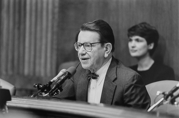 Sen. Paul Simon, D-Ill., at his Judiciary Subcommittee hearing on Feb. 21, 1994. (Photo by Chris Martin/CQ Roll Call)