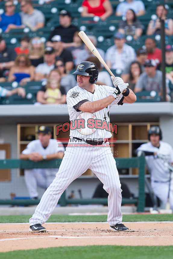 Dan Black (40) of the Charlotte Knights at bat against the Lehigh Valley IronPigs at BB&T Ballpark on May 8, 2014 in Charlotte, North Carolina.  The IronPigs defeated the Knights 8-6.  (Brian Westerholt/Four Seam Images)