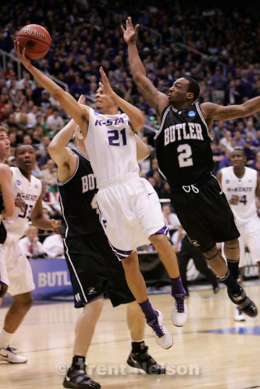Trent Nelson  |  The Salt Lake Tribune.Salt Lake City - Butler vs. Kansas State, NCAA West Regional (Final Eight), Saturday, March 27, 2010. Butler center Andrew Smith (44) Kansas State guard Denis Clemente (21) Butler guard Shawn Vanzant (2)