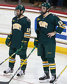 Drew Best (UVM - 12), Liam Coughlin (UVM - 13) - The visiting University of Vermont Catamounts tied the Boston College Eagles 2-2 on Saturday, February 18, 2017, Boston College's senior night at Kelley Rink in Conte Forum in Chestnut Hill, Massachusetts.Vermont and BC tied 2-2 on Saturday, February 18, 2017, Boston College's senior night at Kelley Rink in Conte Forum in Chestnut Hill, Massachusetts.