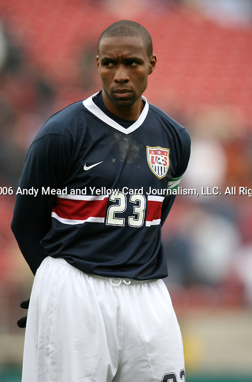 Eddie Pope, captain of the United States, as the U.S. debuts their new uniforms on Sunday, February 19th, 2005 at Pizza Hut Park in Frisco, Texas. The United States Men's National Team defeated Guatemala 4-0 in a men's international friendly.